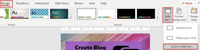 Change the slide size in PowerPoint