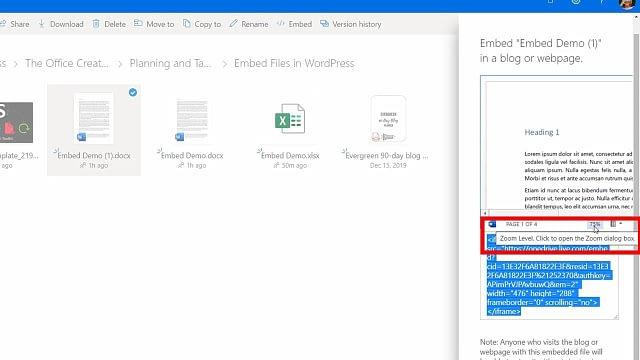 embedding microsoft office files in WordPress